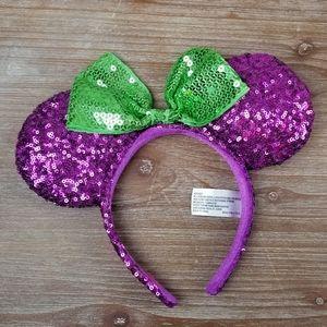 Authentic Disney Purple/Green sequin Minnie ears
